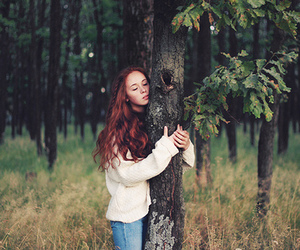 brown hair, energy, and forest image