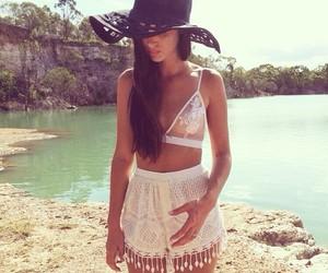 summer, beach, and brunette image