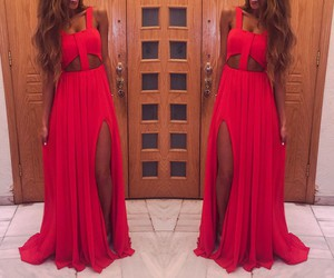 long dress, red dress, and style image