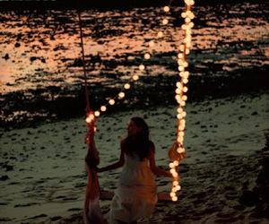 beach, light, and swing image