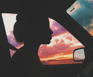 girl, car, and sunset image