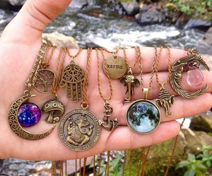 necklace, moon, and accessories image