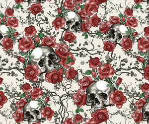 red, roses, and skull image