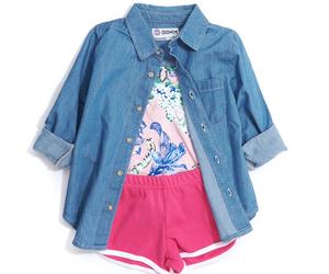 american apparel, floral top, and denim shirt image