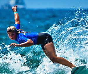 girls, summer, and surfing image