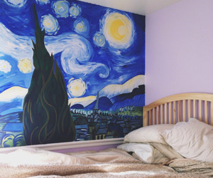 art, bedroom, and mural image