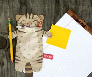 cat, pencil case, and 猫 image