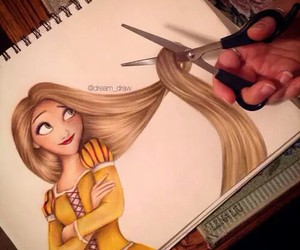 blond, drawing, and girl image