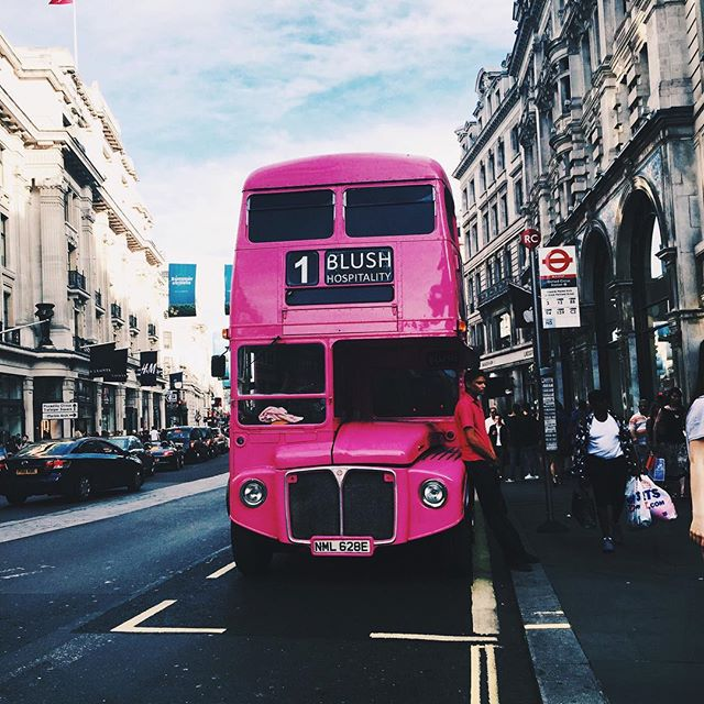 bus, pink, and london image