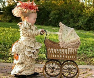 baby carriage, dressed up, and costume image