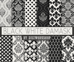 black & white, damask, and floral image