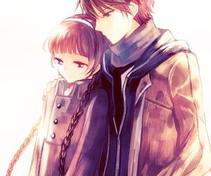anime, red data girl, and couple image