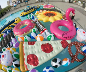 float, pool, and summer image