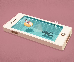 art, phone, and pool image
