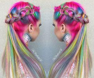 braid, dyed hair, and grunge image