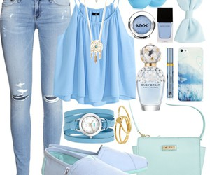 blue, Polyvore, and outfit image