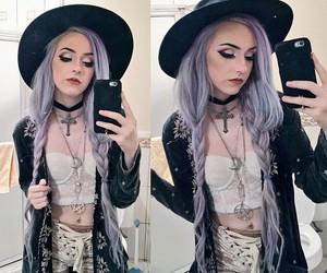 dyed hair, kawaii, and purple hair image