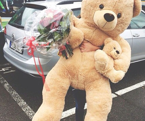 love, bear, and flowers image