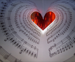 music, heart, and love image