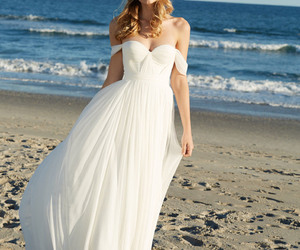 wedding dress, beach wedding dress, and wedding image