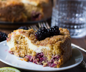 blackberry, crumble, and cake image
