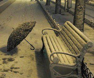 bench, frozen, and snow image