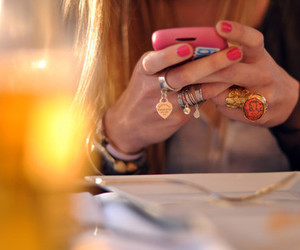 girl, rings, and phone image