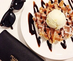 food, waffles, and Prada image