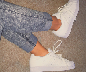 jeans, white, and superstar image