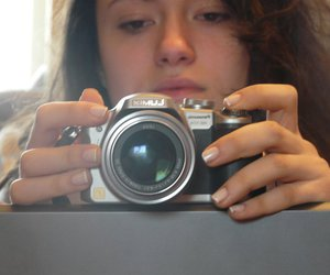 camera, fingers, and girl image