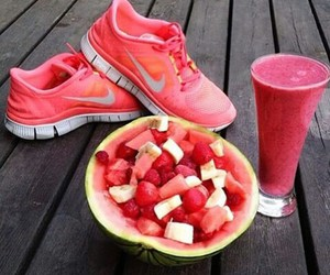 nike, pink, and smoothie image