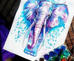 drawing, art, and elephant image