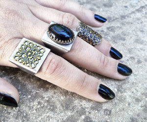 big ring, gothic jewelry, and alternative fashion image