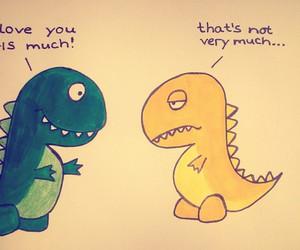art, couple, and dinosaur image