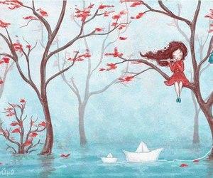 girl, tree, and art image