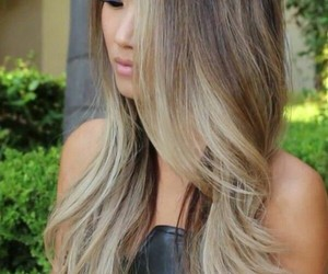 hairstyle, ash blonde highlights, and ombre hair image