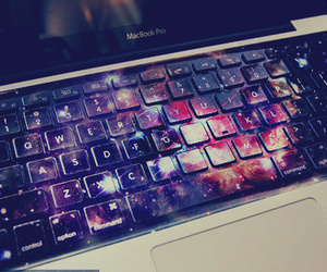 galaxy, keyboard, and laptop image