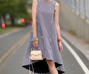 dress, pied de poule, and street style image