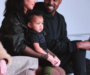 kim kardashian, kanye west, and north west image