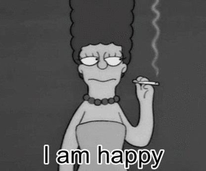 happy, simpsons, and black and white image