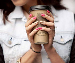 nails, coffee, and pink image