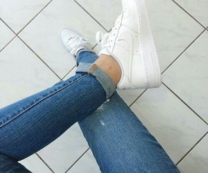 jeans, shoes, and nike air image