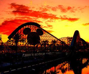 disney, disneyland, and sunset image