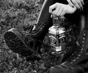 jack daniels, black and white, and boots image