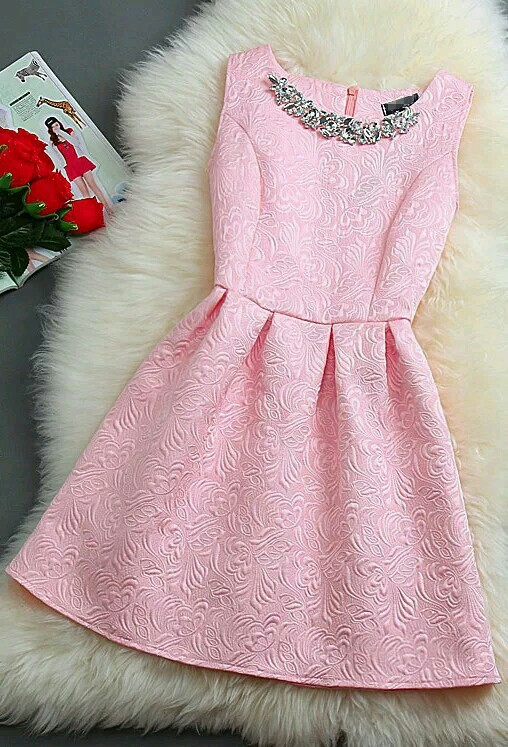 pink dress, spring and summer, and silver collar image