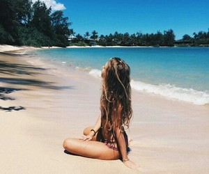 beach, summer, and girl image