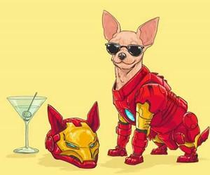 dog, iron man, and Marvel image
