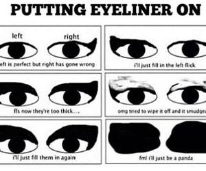 eyeliner, funny, and eyes image
