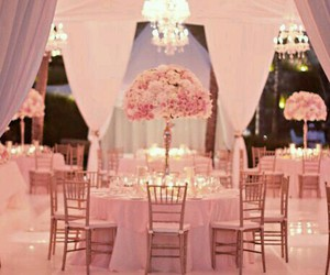 wedding, pink, and reception image