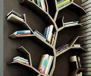 book, tree, and bookshelf image